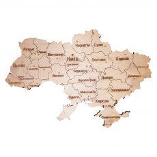 Карта Украины из дерева на магнитах